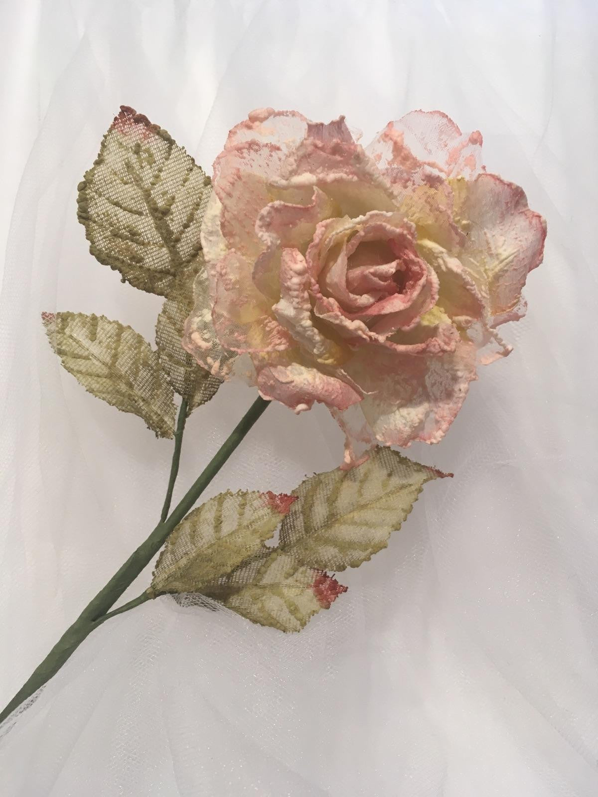 Victorian Cream/Pink Flocked Roses - Dozen | A Shower of Roses - photo#29