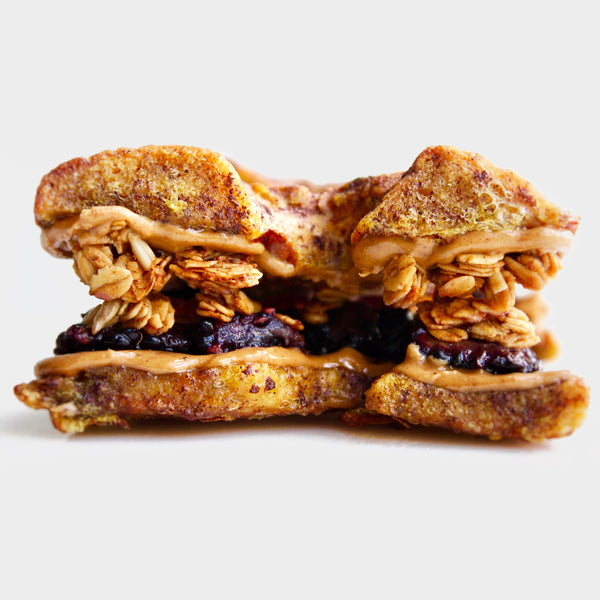 Blackberry French Toast Pagel Sandwich