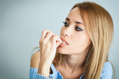 Woman Biting Nails Quitting Smoking Stress