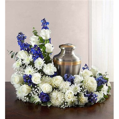 Cremation wreath blue and white