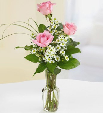 3 Pink Roses Bouquet