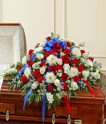 Red, White, and Blue Half Casket