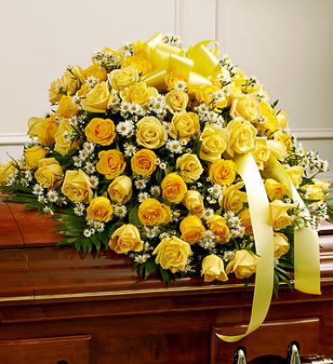 Yellow Rose Half Casket Cover