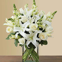 All White Arrangement for Sympathy