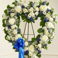 Blue & White Floral Heart Tribute