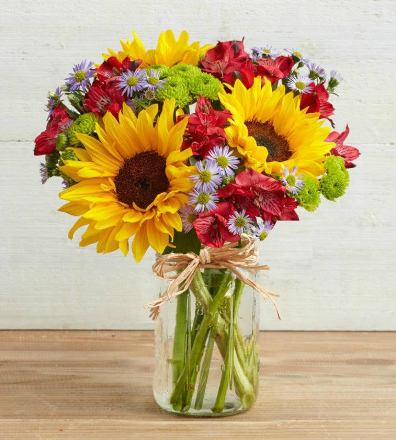 Sunflowers fields mason jar spring garden florist