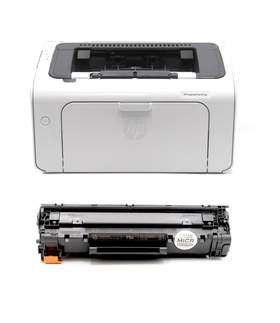 HP M12W LaserJet Pro Printer and 1 OEM MICR Cartridge