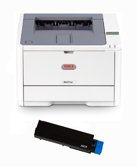 Okidata B411DN Printer and 1 MTI MICR Cartridge