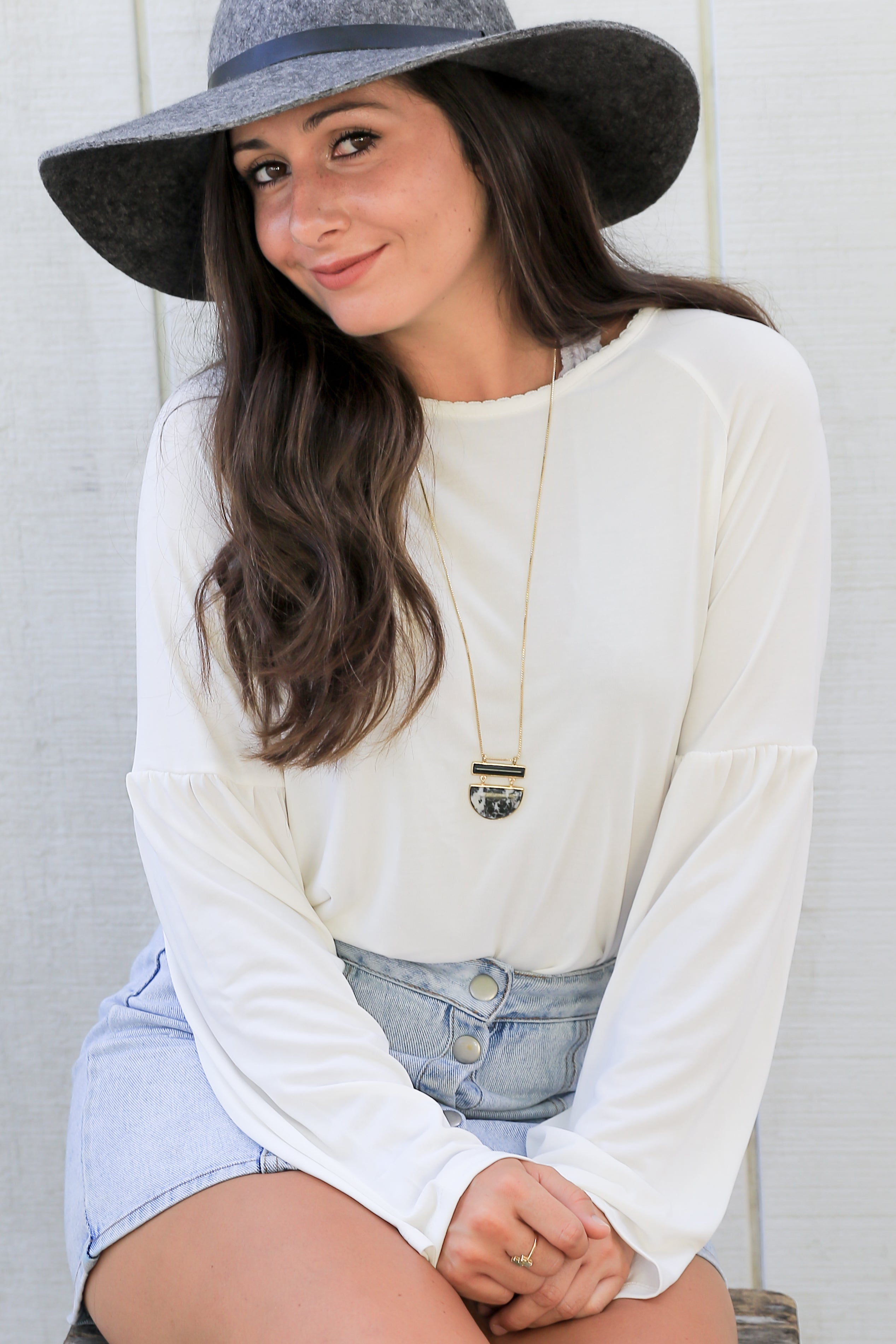 Gracie Top in Off White - Marly Rae