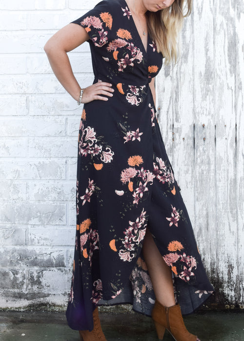 Adeline Dress in Black Bouquet - Marly Rae