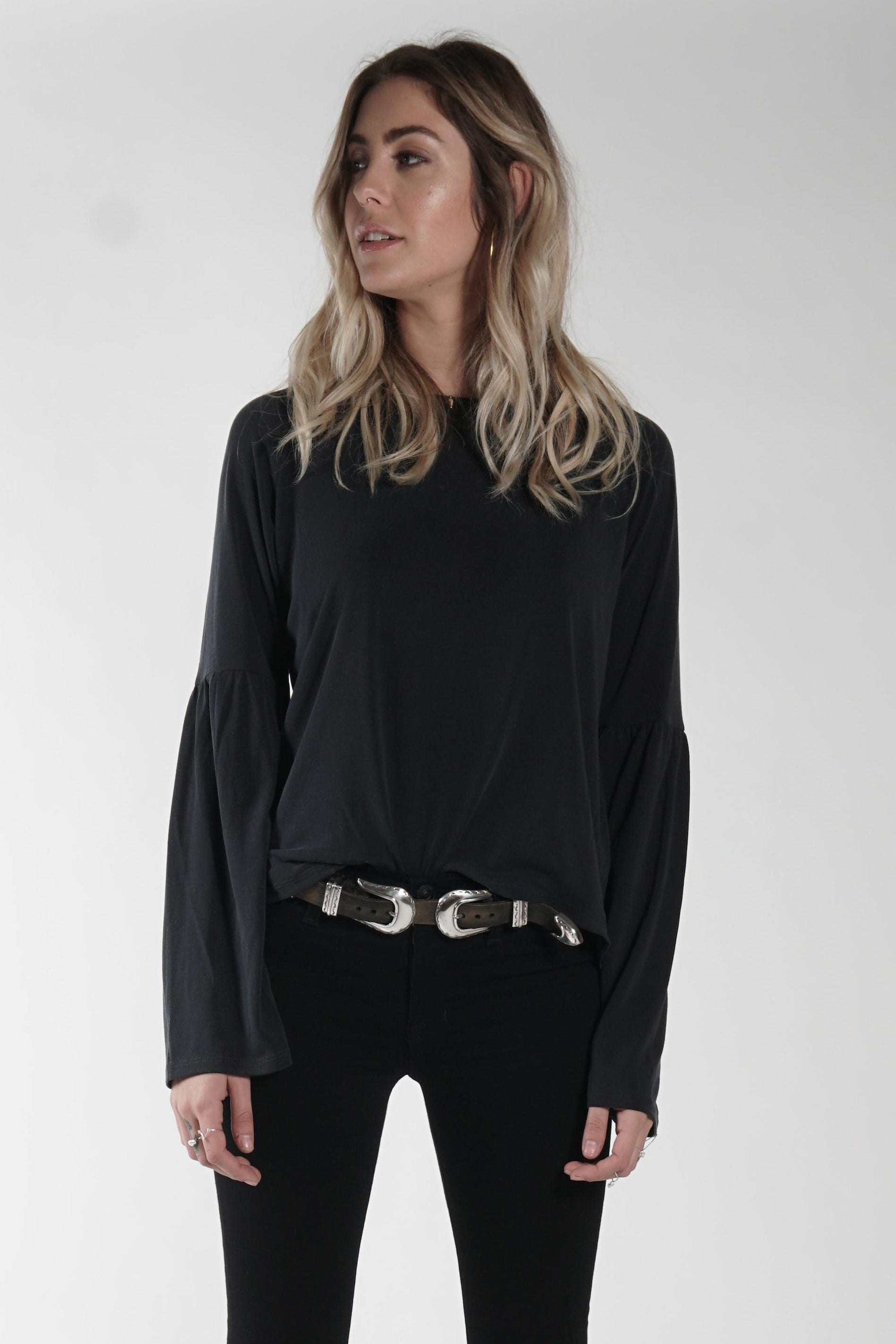 Gracie Top in Faded Black - Marly Rae