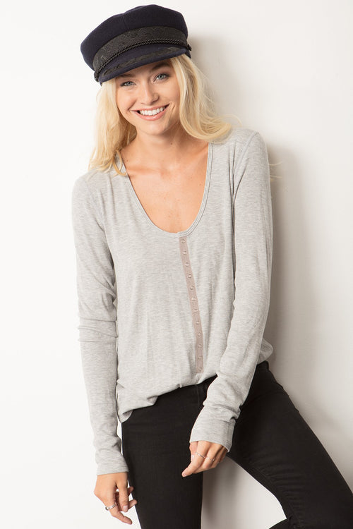 Easy-fit Long Sleeve Henley - Marly Rae
