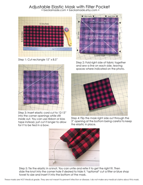 Free PDF Instructions Download of Adjustable Fabric Mask with Filter Pocket