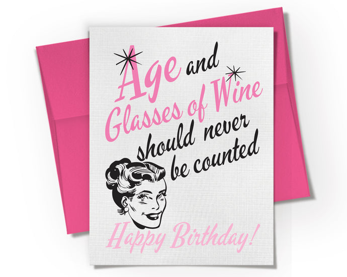 Card - Age and Glasses of Wine Birthday Card.