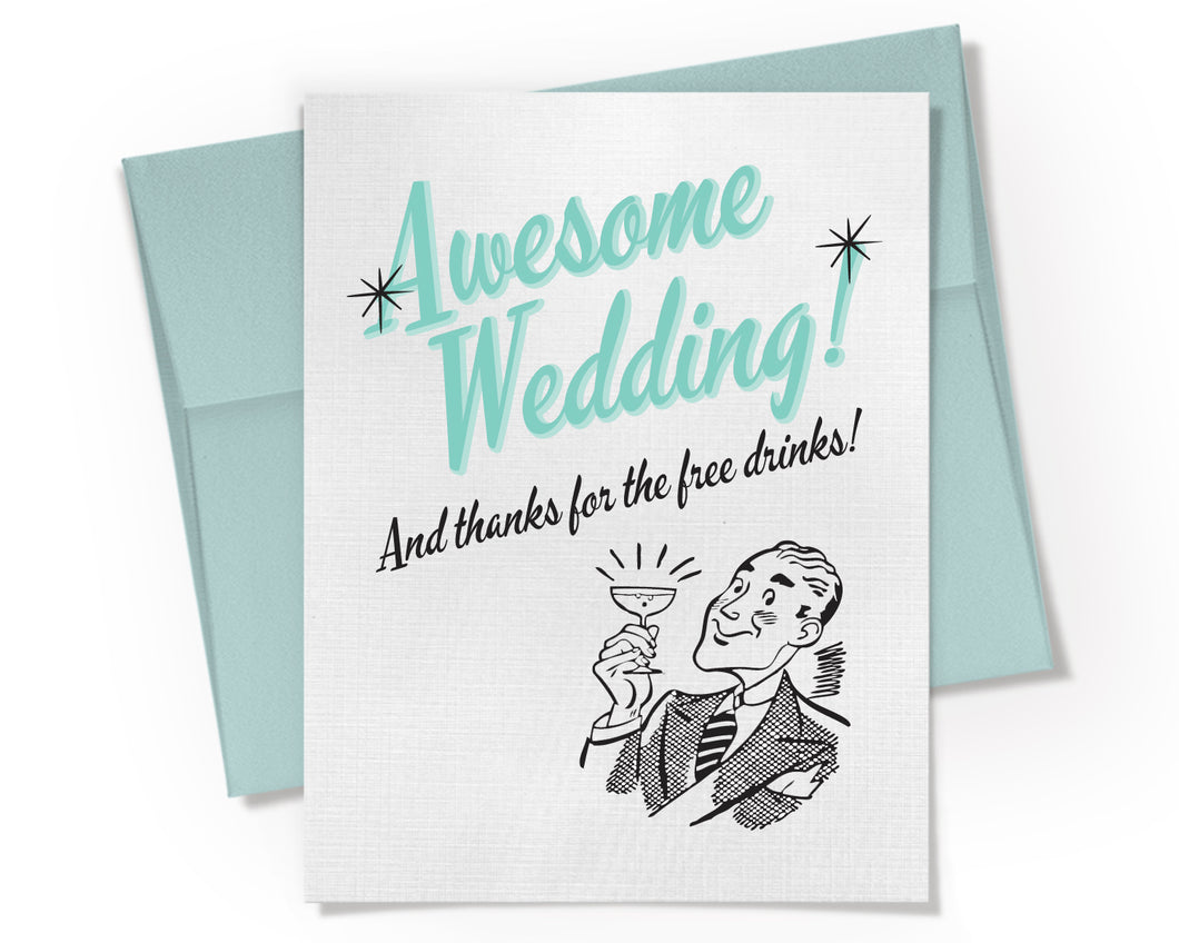 Awesome Wedding Card. Open Bar. Retro Wedding Card.