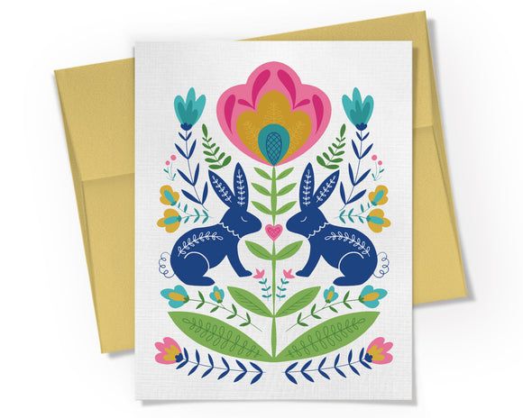 Card - Scandinavian Bunnies and Floral