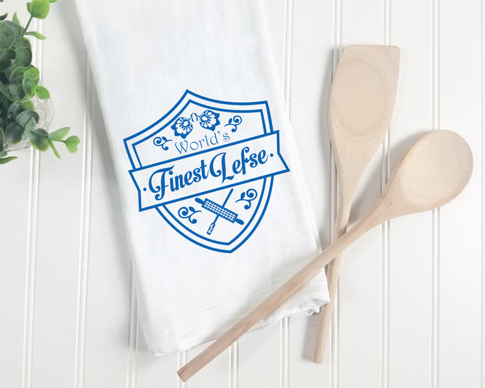 Towel - World's Finest Lefse Kitchen Towel. Midwest Hand Printed Towel.
