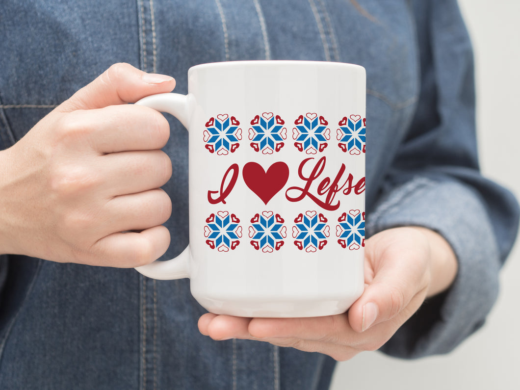 I Heart Lefse 15 oz Coffee Mug. Midwest Gift. Large Coffee or Tea Mug.