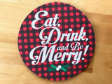 Coaster - Eat, Drink, and Be Merry - Set of 4
