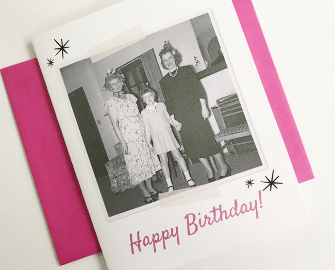 Happy Birthday Retro Photo Card. Vintage Photo Card. Rockabilly Gift. Funny Birthday Card.