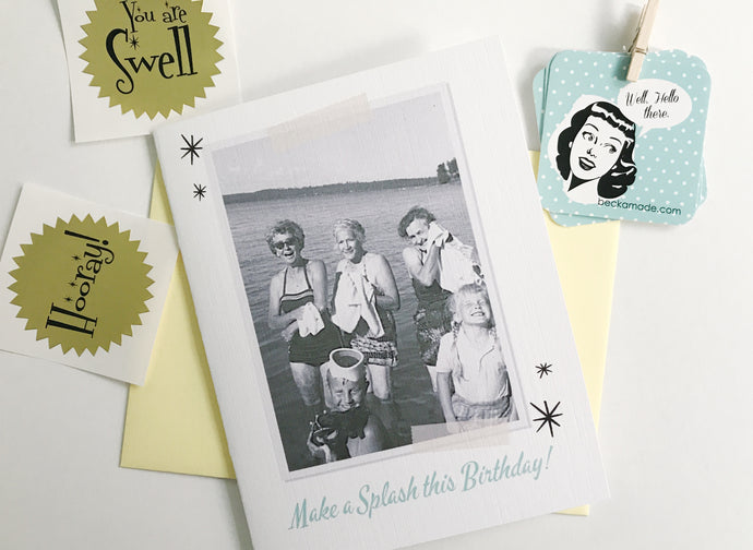 Make a Splash this Birthday Photo Card. Vintage Photo Card. Over the Hill Gift. Funny Birthday Card.