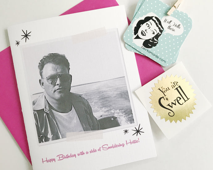 Happy Birthday with a Side of Smoldering Hottie Photo Card. Vintage Photo Card. Rockabilly Gift. Funny Birthday Card.