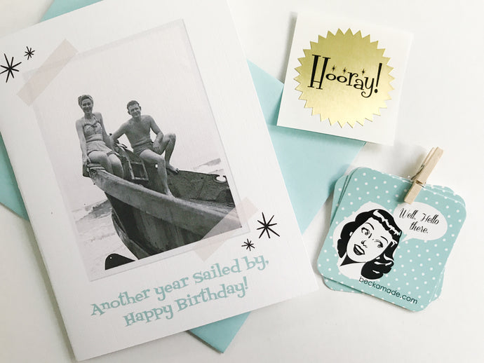 Another Year Sailed By. Happy Birthday Card by Beckamade. Vintage Photo Card.