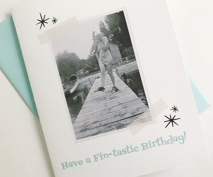 Have a Fin-tastic Birthday Retro Photo Card. Vintage Photo Card. Funny Birthday Card.
