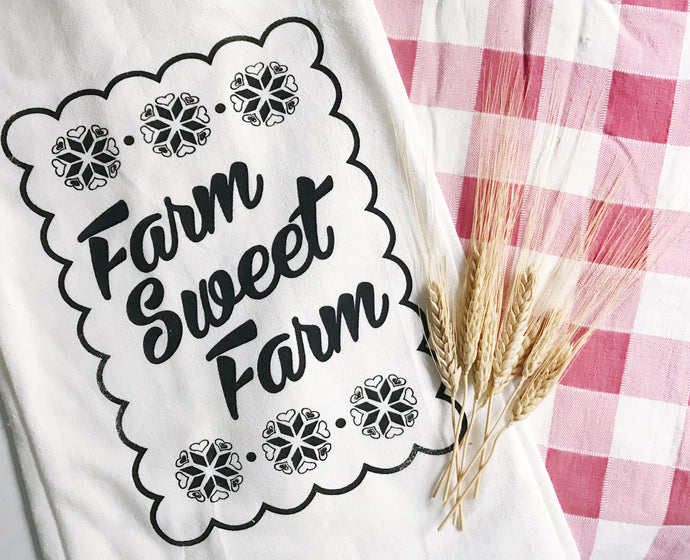 Towel - Farm Sweet Farm Screenprint Tea Towel.