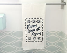 Farm Sweet Farm Screenprint Tea Towel. Farm Country Towel. Hand Printed Kitchen Towel.