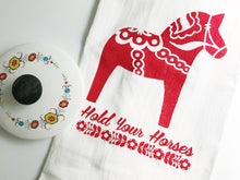 Hold Your Horses Screenprint Tea Towel. Swedish Dala Horse Towel. Hand Printed Kitchen Towel.