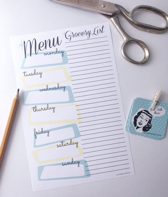 Menu Grocery List Digital Download Printable.