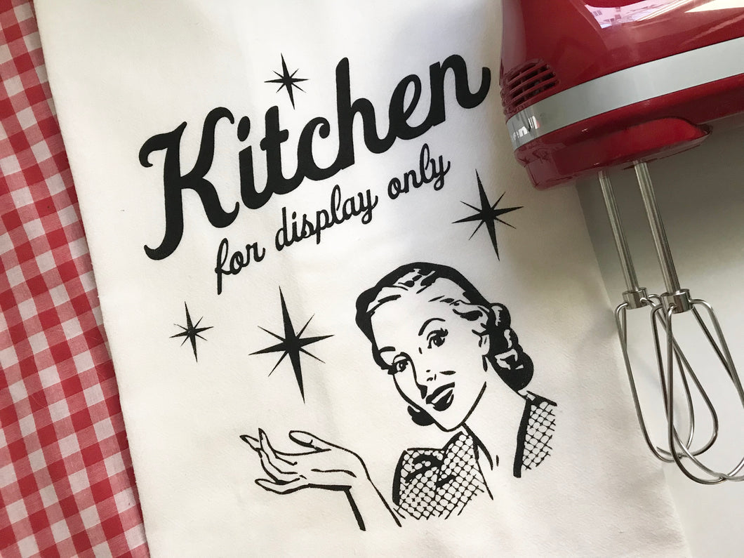 Kitchen for Display Only Screenprint Tea Towel. Retro Dish Towel. Hand Printed Kitchen Towel.