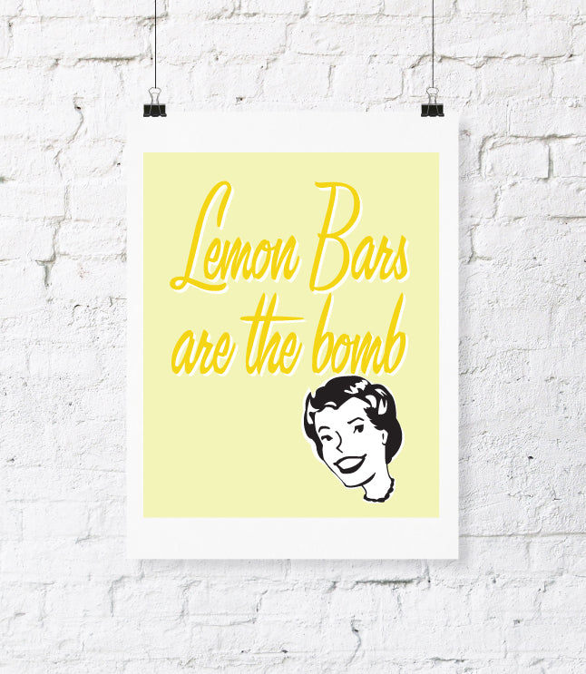 Digital File - Lemon Bars Digital Download Print. DIY Printable Wall Art. Kitchen Decor. Typography Wall Art. Printable Wall Quote Home Decor