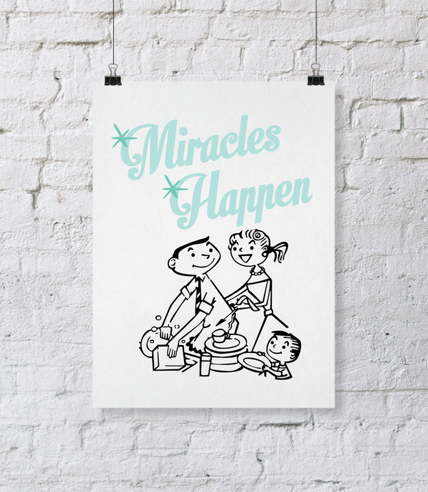 Miracles Happen Digital Download Print. DIY Printable Wall Art. Kitchen Decor. Typography Wall Art. Printable Wall Quote Home Decor