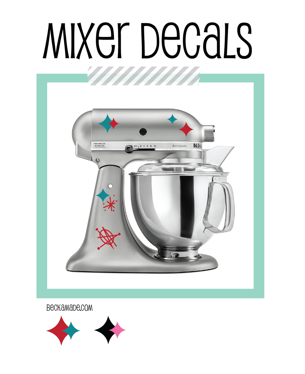 Decals - Atomic Vinyl Decal Stand Mixer Stickers - Red and Teal