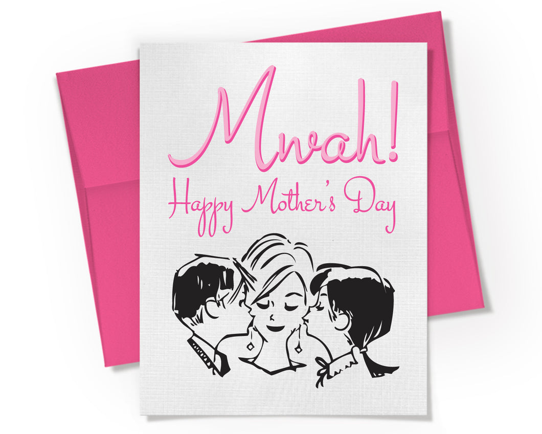 Happy Mother's Day, Mwah Kisses Card.