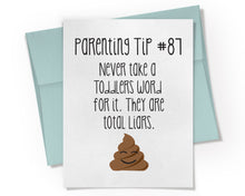 Parenting Tip #87 Toddlers are Liars Card. Parenting Humor Card. Baby Shower Card.
