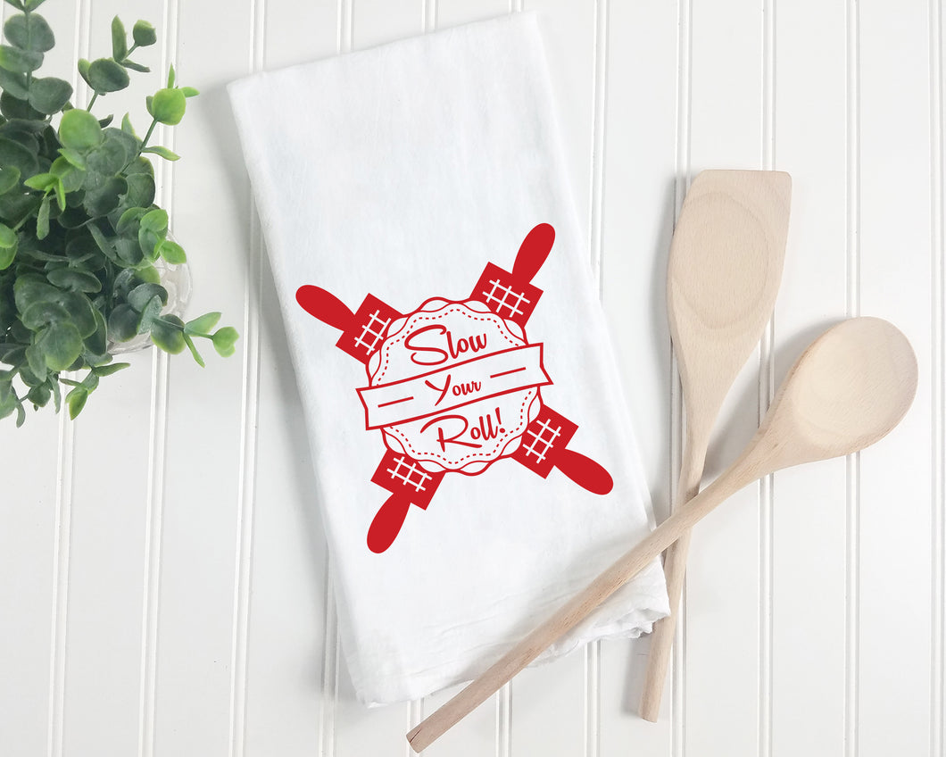 Slow Your Roll Screenprint Tea Towel. Midwest Kitchen Towel. Hand Printed Towel.