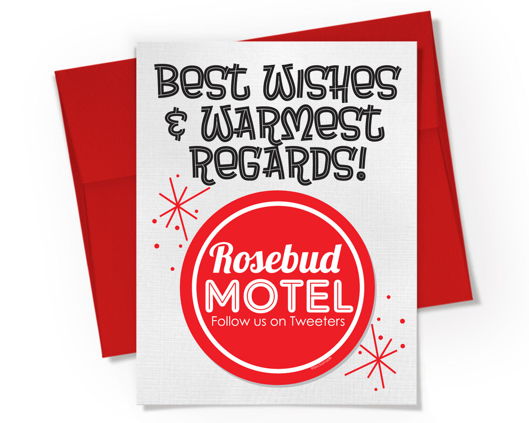 Card + Sticker - Rosebud Motel. Best Wishes & Warmest Regards