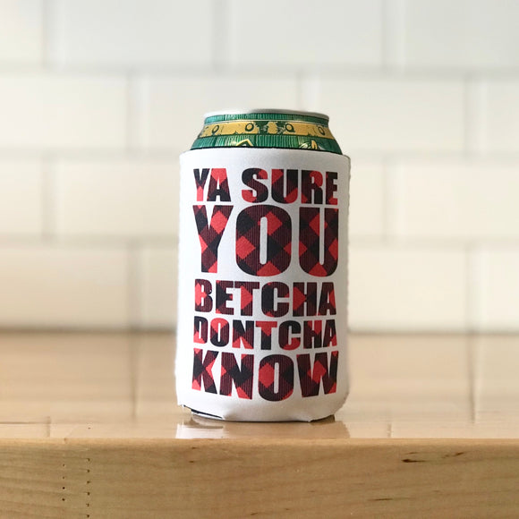 Cozie - Ya Sure You Betcha Dontcha Know - White with Red Buffalo Plaid - Regular Can Size