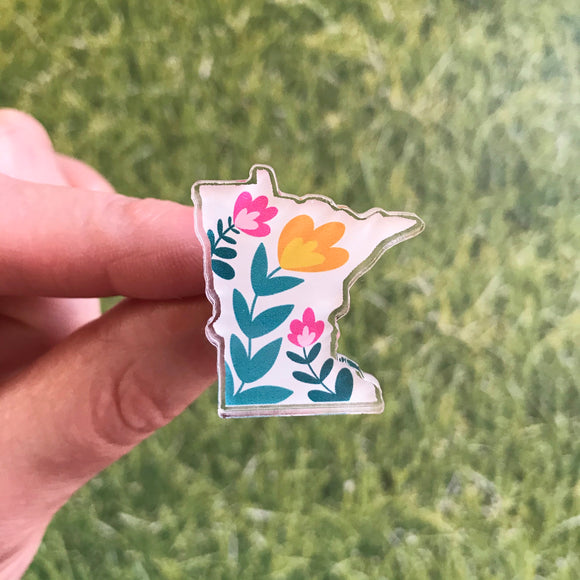 Acrylic Pin - Minnesota with Flowers