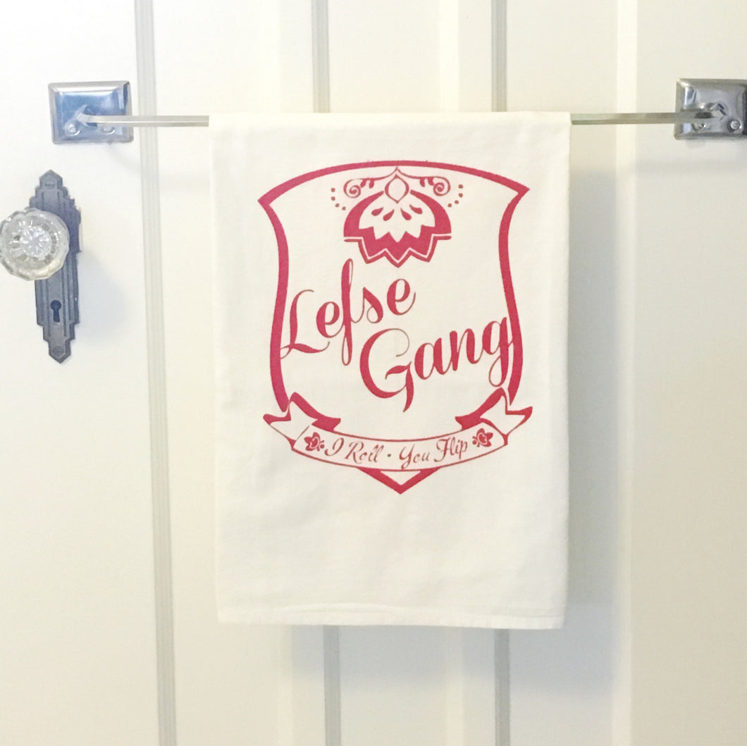 Lefse Gang Screenprint Tea Towel. Midwest KitchenTowel. Hand Printed Kitchen Towel.