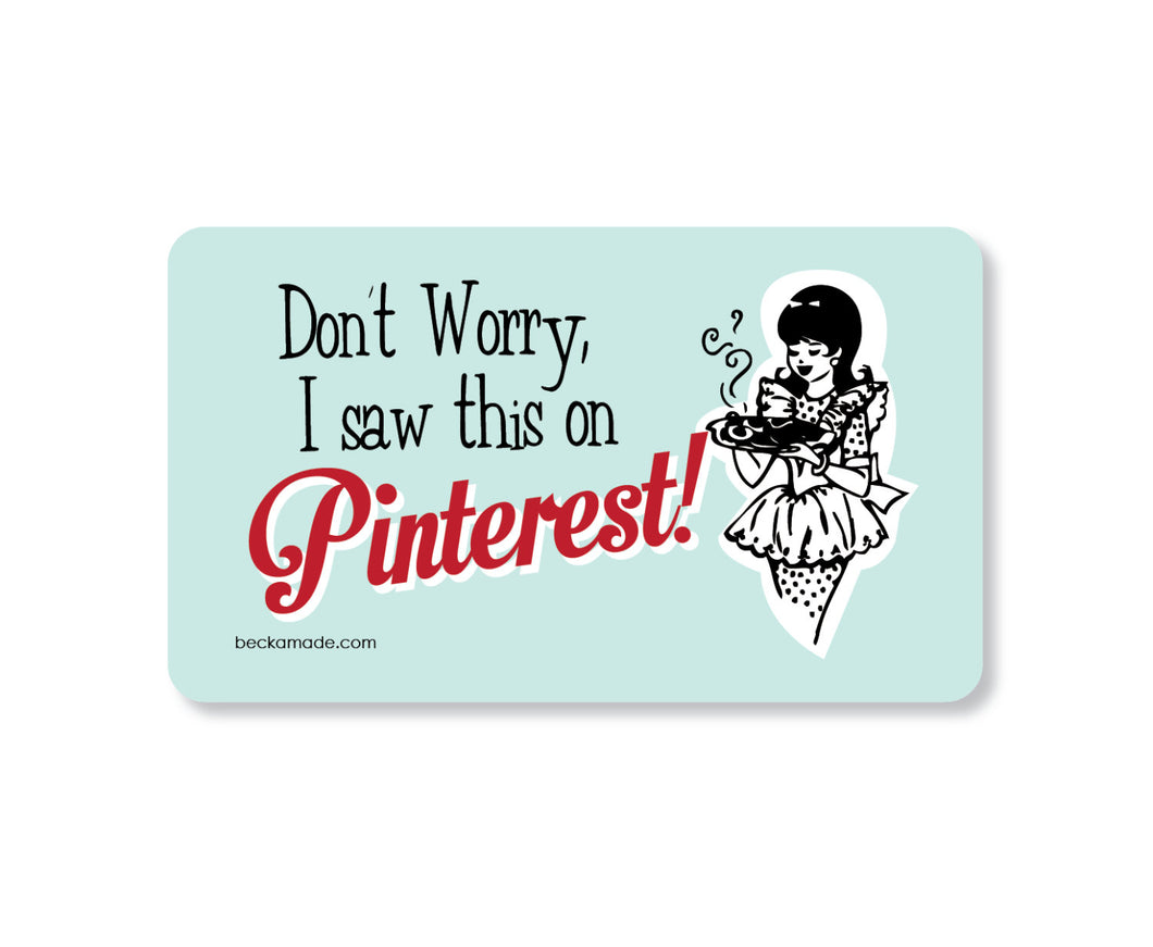 Pinterest Humor Magnet. Kitchen Magnet. Fridge Magnet. Can't Cook Gift. Pinterest Fail.