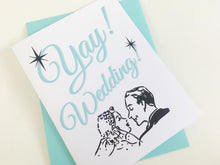 Yay Wedding Card.  Retro Wedding Card. Marriage Card. Wedding Gift.