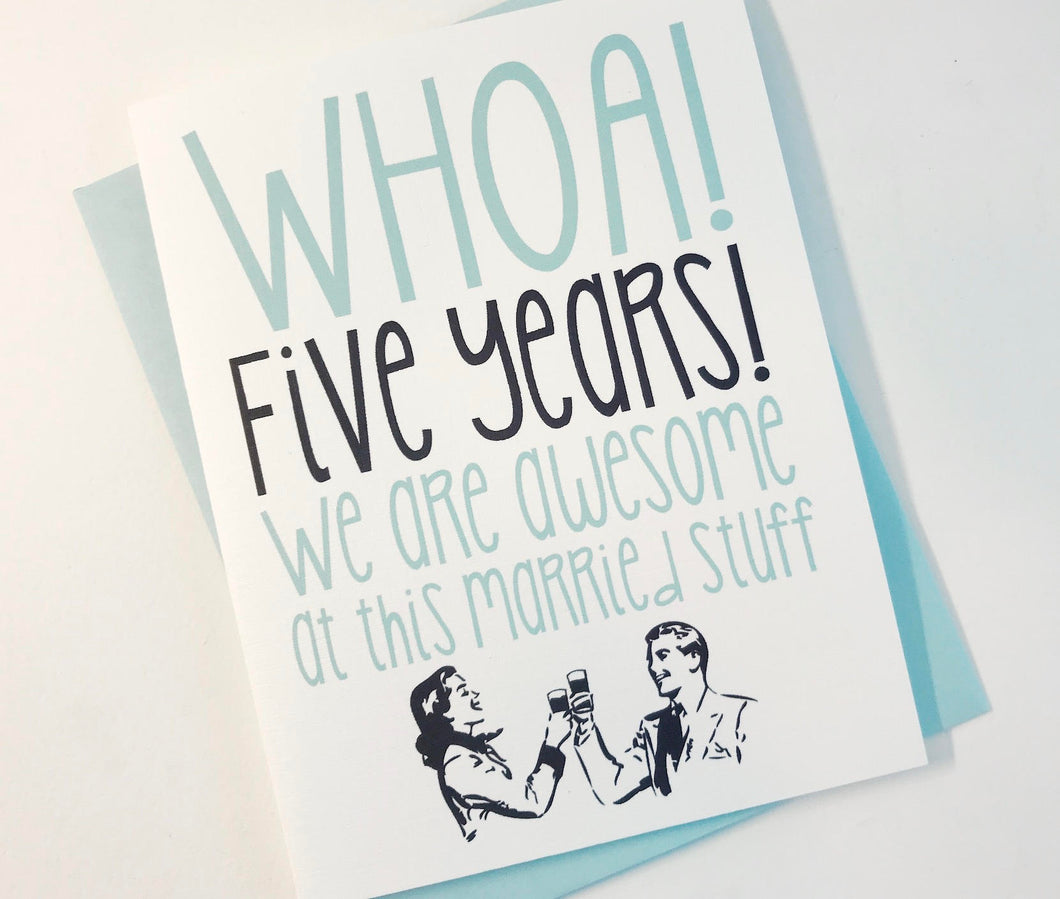5th Wedding Anniversary Card. Fifth Anniversary Card.