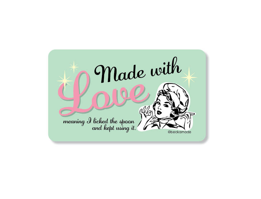 Made with Love Kitchen Magnet. Fridge Magnet. Funny Magnet.