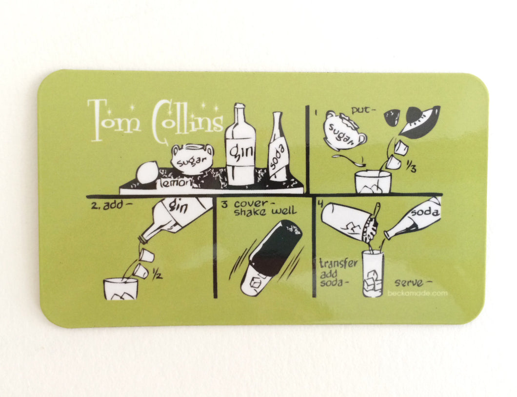 On Sale. Tom Collins Cocktail Magnet. Kitchen Magnet. Gift for Coworker. Mixologist.