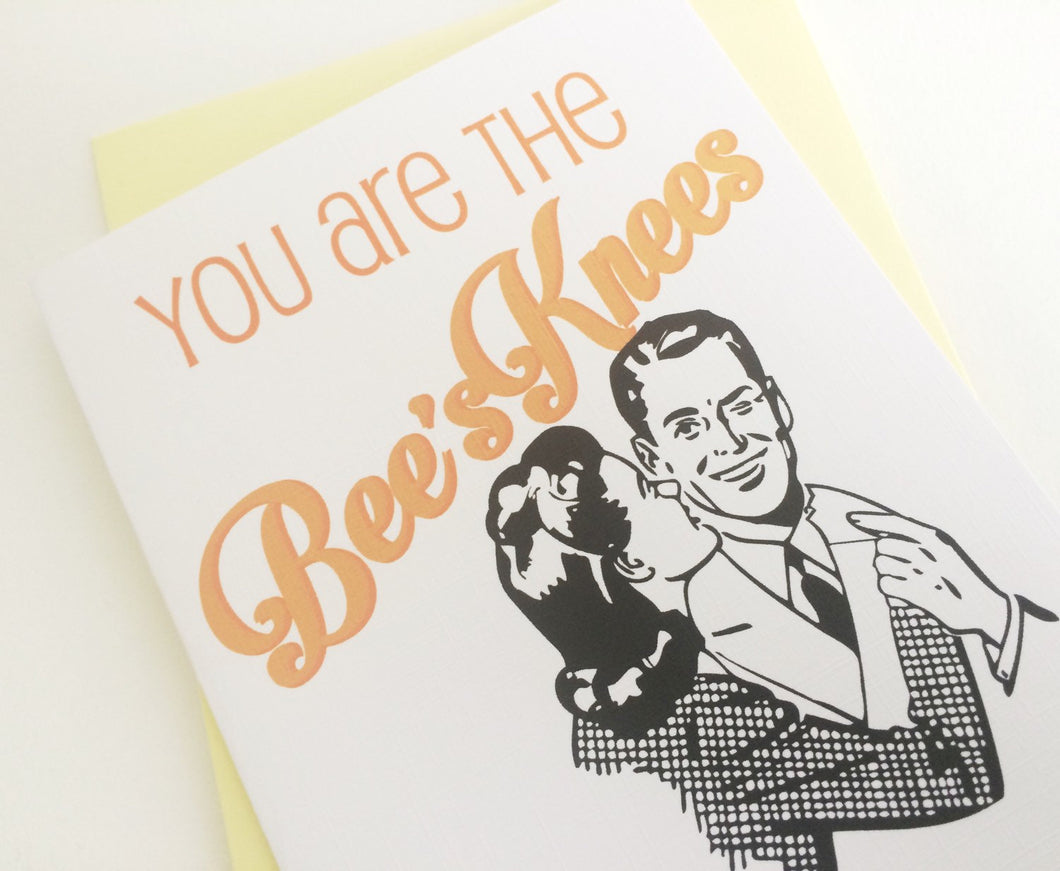 Bees Knees Card. Valentines Day Card. Sweetheart Card. I Love You Card.
