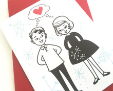 Couple in Love Card. Valentines Day Card. Wedding Card.